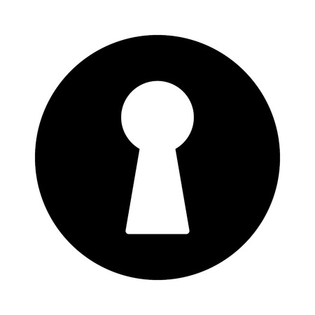closed lock: Vintage door keyhole access flat icon for apps and websites
