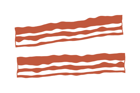bacon strips: Bacon strips flat color icon for apps and websites Illustration