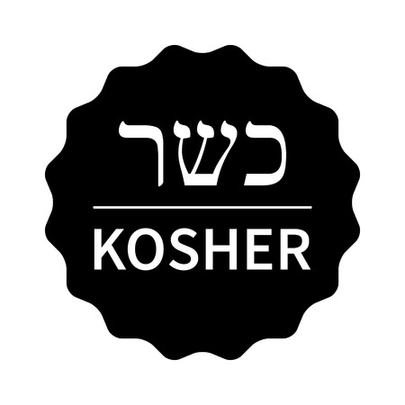 compliant: Black kosher food stamp, label, sticker or stick flat icon