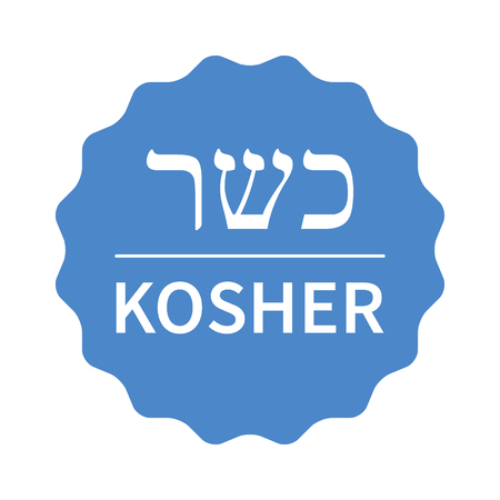 Blue kosher food stamp, label, sticker or stick flat icon Illustration