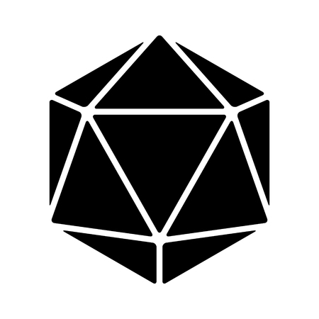 sided: 20 sided  20d dice flat icon for apps and websites