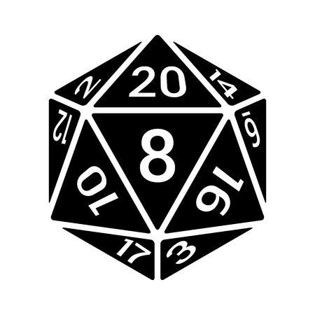 polyhedral: 20 sided  20d dice with numbers line art icon for apps and websites