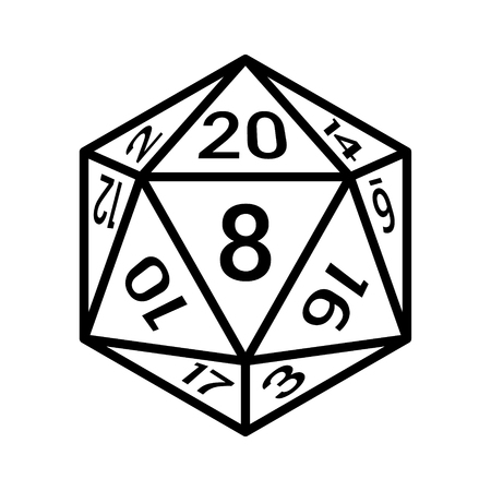 sided: 20 sided  20d dice with numbers line art icon for apps and websites