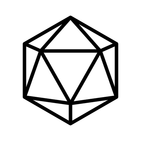 20 sided  20d dice line art icon for apps and websites
