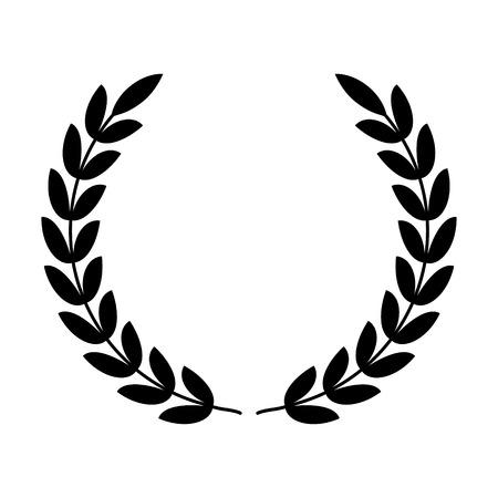 reconocimiento: Corona de laurel - símbolo de la victoria y el icono plana de potencia para aplicaciones y sitios web