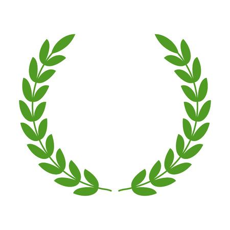 reconocimiento: Corona de laurel - s�mbolo de la victoria y el icono plana de potencia para aplicaciones y sitios web