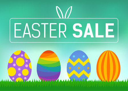 Happy Easter sale promo poster vector display Çizim