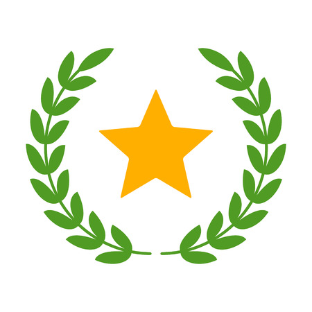 glory: Laurel wreath with star - symbol of victory and glory flat icon Illustration