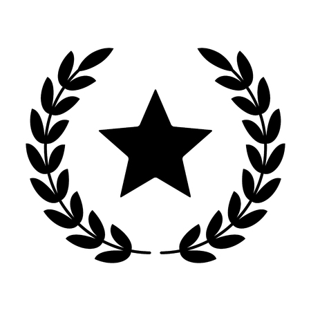 Laurel wreath with star - symbol of victory and glory flat icon Ilustracja
