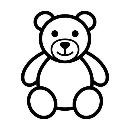 Teddy bear plush toy line art icon for apps and websites Çizim