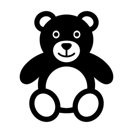 oso de peluche: Oso de peluche de felpa plana icono de juguete para aplicaciones y sitios web Vectores