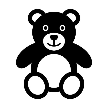 Teddy bear plush toy flat icon for apps and websites Çizim