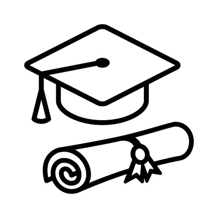 academia: Graduation cap  hat with diploma line art icon for apps and websites