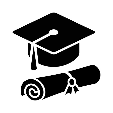edu: Graduation cap  hat with diploma flat icon for apps and websites Illustration