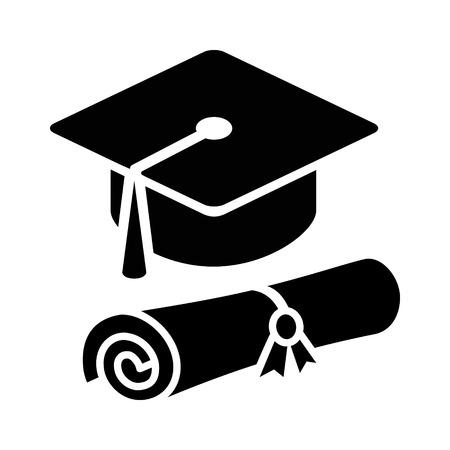 Graduation Cap Hut mit Diplom flach Symbol für Anwendungen und Websites Vektorgrafik