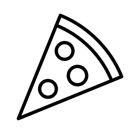 pepperoni: Pizza slice with pepperoni line art icon for apps and websites Illustration