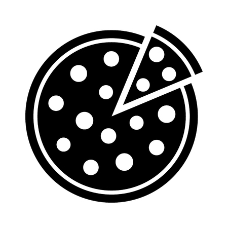 Whole pepperoni pizza pie with loose slice flat icon for food apps and websites Illustration