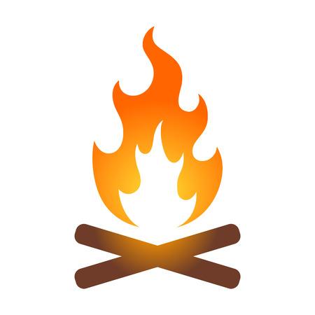 旅行アプリとウェブサイトのカラフルなキャンプファイヤーたき火アイコン  イラスト・ベクター素材