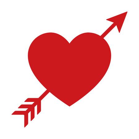 恋煩いやアプリとウェブサイトの心フラット アイコンを矢印  イラスト・ベクター素材
