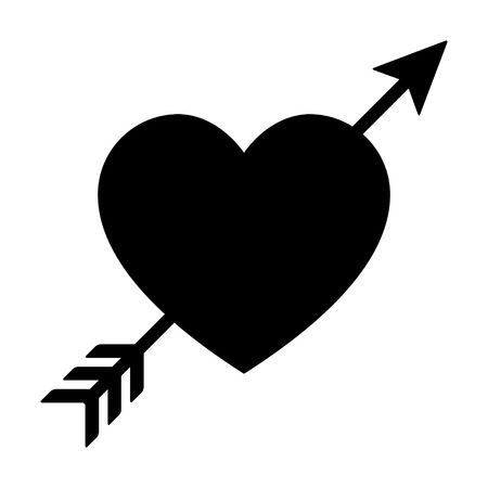 wounded heart: Lovestruck or arrow through heart flat icon for apps and websites