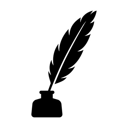 inkpot: Feather quill pen with inkpot flat icon for apps and websites