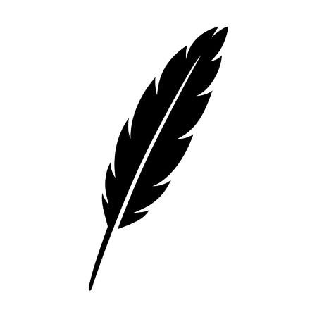 Feather quill pen flat icon for apps and websites Banco de Imagens - 50020735