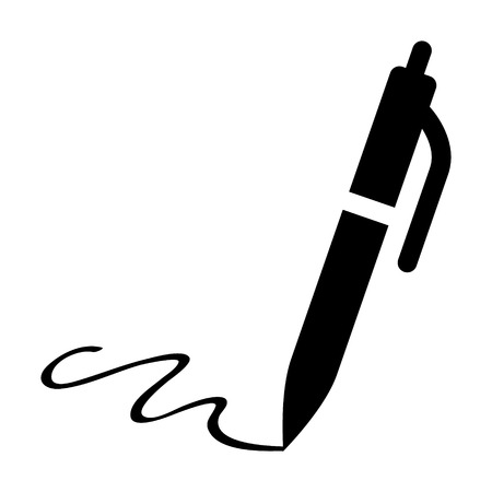 Pen signature flat icon for apps and websites  イラスト・ベクター素材