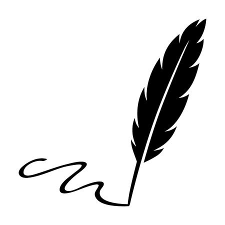 Feather quill pen signature flat icon for apps and websites