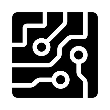 semiconductors: Circuit board semiconductors flat icon for apps and websites Illustration