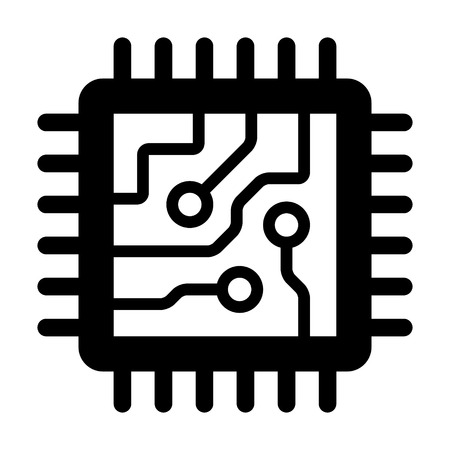Computer chip circuit board flat icon for apps and websites Çizim