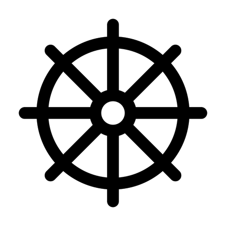nirvana: Dharmachakra  Wheel of Dharma - a symbol of Buddhism and Hinduism flat icon for apps and websites Illustration