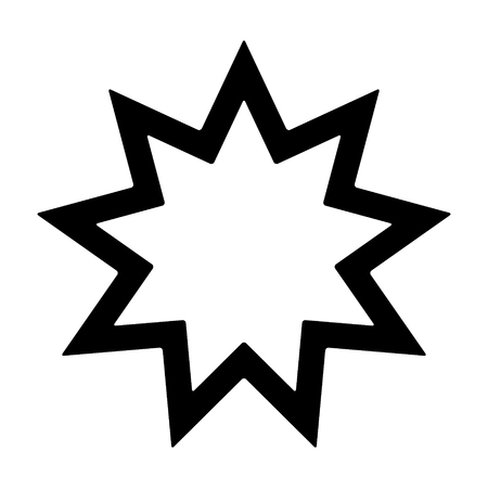 pointed: Nine pointed star - Symbol of Bahai Faith  Bahaism flat icon for apps and websites