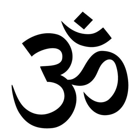 Om Aum - simbolo icona piatto dell'induismo per le applicazioni e siti web Vettoriali