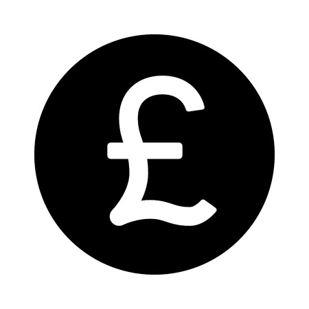 currency symbol: British Pound Sterling round currency symbol flat icon for apps and websites Illustration