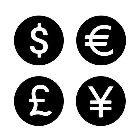 currencies: Dollar, Euro, Yen  Yuan and Pound round currency exchange flat icon for apps and websites Illustration