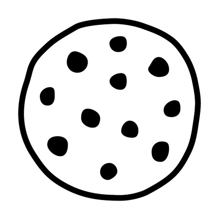 Chocolate chip cookie line art icon for food apps and websites
