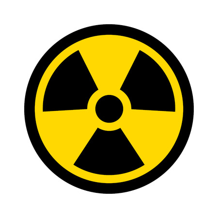 Yellow radioactive  radiation symbol flat icon for websites and print