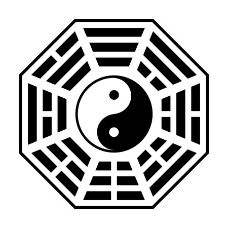 chinese philosophy: Bagua - symbol of Taoism  Daoism flat icon for websites and print