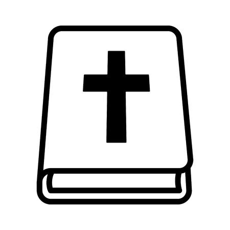 new testament: Bible holy book with cross line art icon for apps and websites