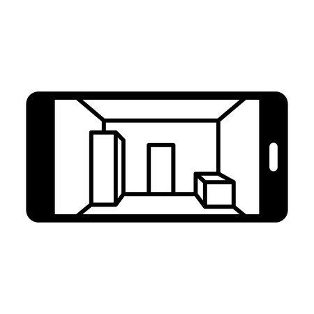 computer vision 3D mapping smartphone flat icon for websites