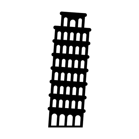 leaning tower: The Leaning Tower of Pisa in Italy flat icon for apps and websites