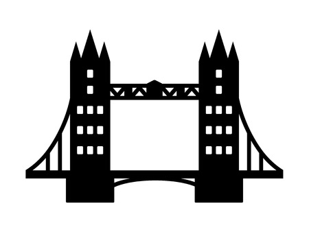 iconic architecture: Tower Bridge landmark in London flat icon for apps and websites