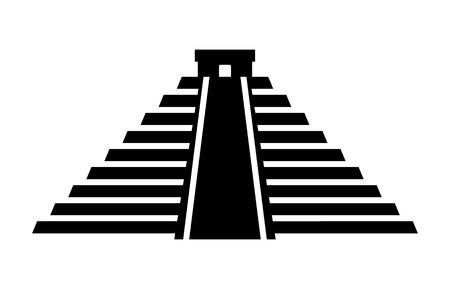 mesoamerican: El Castillo pyramid in Chichen Itza flat icon for apps and websites Illustration