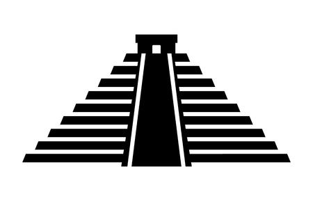 El Castillo pyramid in Chichen Itza flat icon for apps and websites Illusztráció