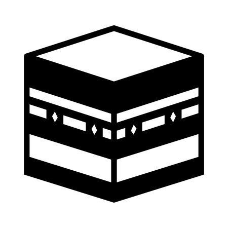 KA: Kaaba Muazzama  Kaaba cube flat icon for apps and websites Illustration