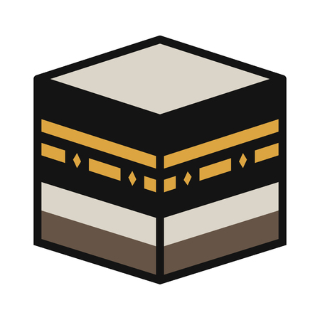 salat: Kaaba Muazzama  Kaaba cube flat icon for apps and websites Illustration