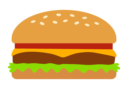 veggie: Hamburger  cheeseburger flat color icon for food apps and websites