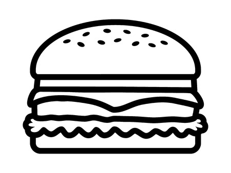 patty: Hamburger  cheeseburger line art icon for food apps and websites Illustration