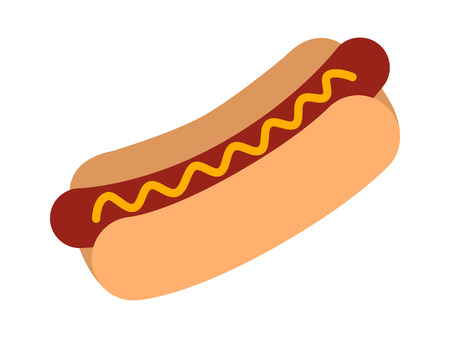 trimmings: Hotdog  hot dog flat color icon for food apps and websites