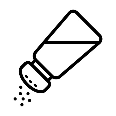 salt flat: Salt shaker seasoning line icon for food apps and websites